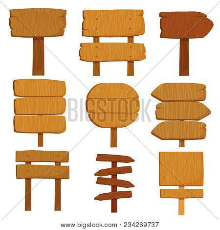 Empty Cartoon Wooden Signs. Old Wood Signpost Boards Isolated Vector Set. Illustration Of Empty Boar
