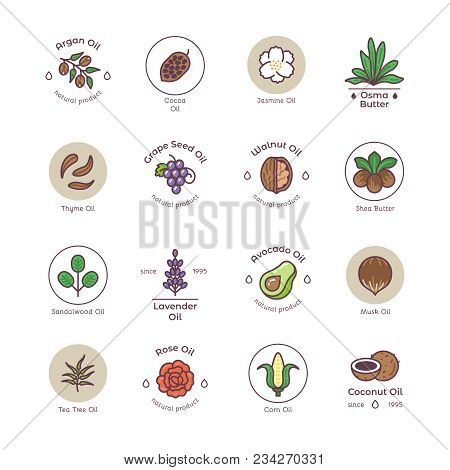 Skincare And Beauty Organic Cosmetics Oil Vector Line Emblems And Logos. Illustration Of Natural Oil