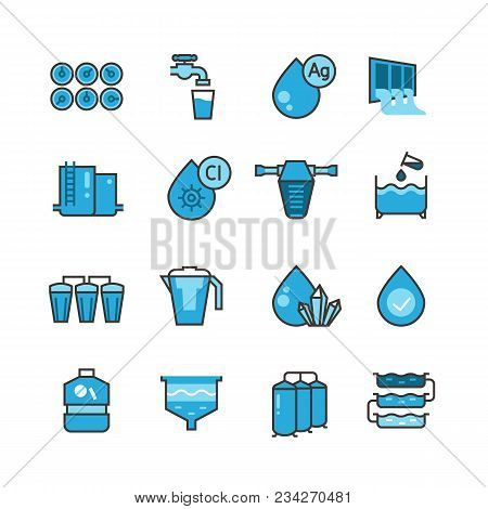 Dirty Effluent Water Treatment Plant And Water Filter For Sewage Sludge Vector Icons Set. Sewage Wat