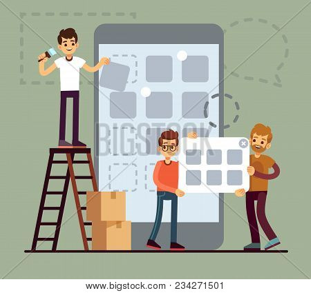 People Developing Cellphone Ui Design. Mobile Phone App Technology Vector Flat Concept. Illustration