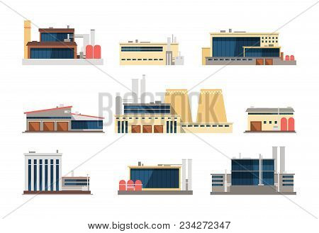 Industrial Factory, Power Plant And Warehouse Buildings. Industrial Construction Vector Flat Icons.