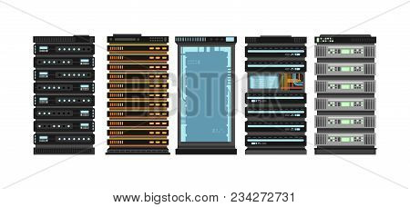 Modern Flat Server Racks. Computer Processor Servers For Server Room. Vector Set Isolated On White B
