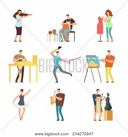 Happy People Of Art And Music. Cartoon Artists And Musicians Vector Isolated Characters In Creative