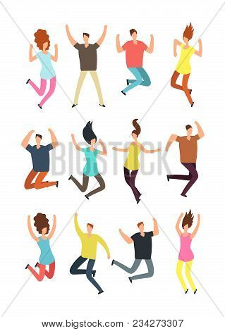Happy Jumping People. Excited Man And Woman In Jump. Flying Persons Vector Characters Isolated. Illu