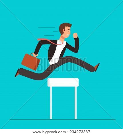 Businessman Jumping Over Hurdles. Business Challenge, Successful Overcoming Vector Concept. Business