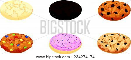 Isolated Vector Illustrations Of Cookies Including Sugar, Fudge, Chocolate Chip, Candy, Frosted And