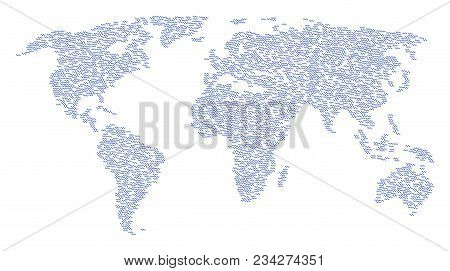 Continent Concept Map Designed Of Sinusoid Wave Pictograms. Vector Sinusoid Wave Scattered Flat Desi