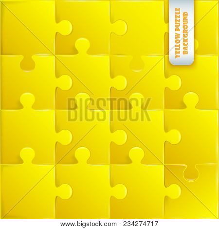 Yellow Plastic Pieces Puzzle Game Complete Background