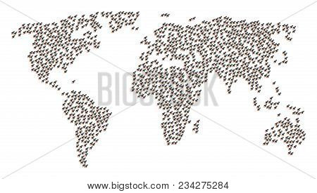 Earth Pattern Map Created Of Space Rocket Launch Elements. Vector Space Rocket Launch Scatter Flat I