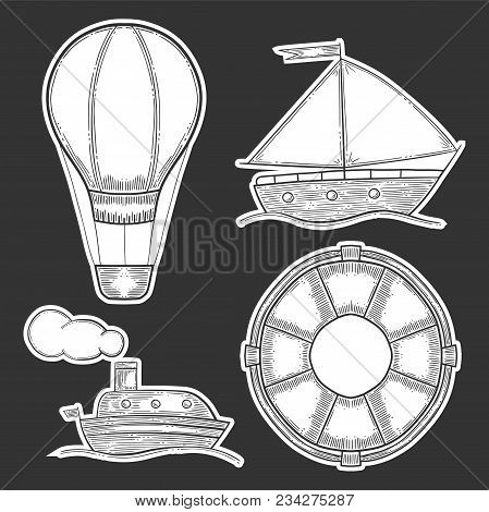 Vacation Set, Air Balloon Or Aerostat And Ship, Sail Vessel And Lifebuoy, Active Recreation. Hand Dr