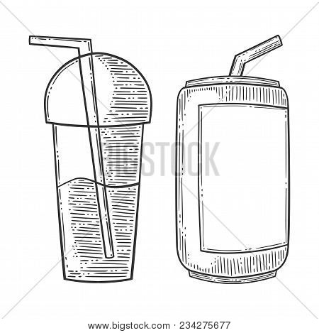 Set Of Refreshing Drinks, Can Of Soda And Cup Of Smuzzi, With Drinking Straw. Hand Drawn Vector In E