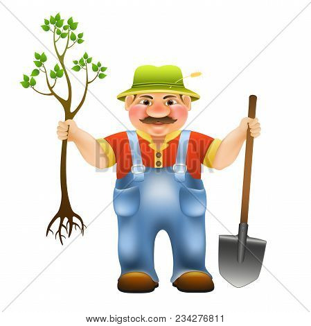 Cartoon Farmer With Shovel And With Seedling Tree