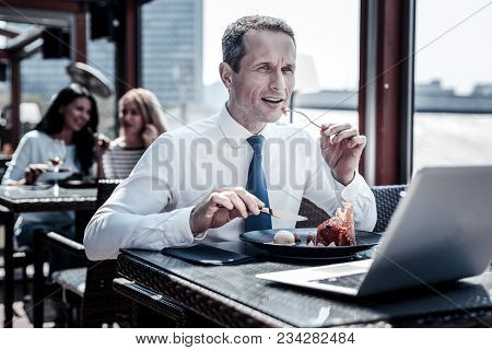 Restaurant Dishes. Nice Pleasant Smart Man Sitting In The Restaurant And Enjoying His Food While Hav
