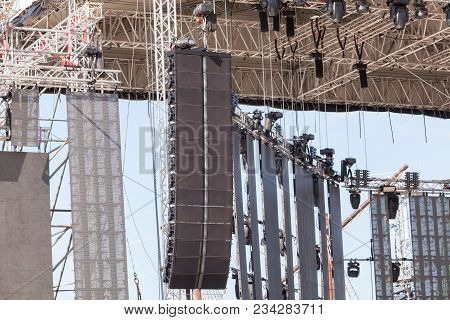 Setting Of Stage Sound Equipment. Powerful Stage Concert Industrial Audio Speakers