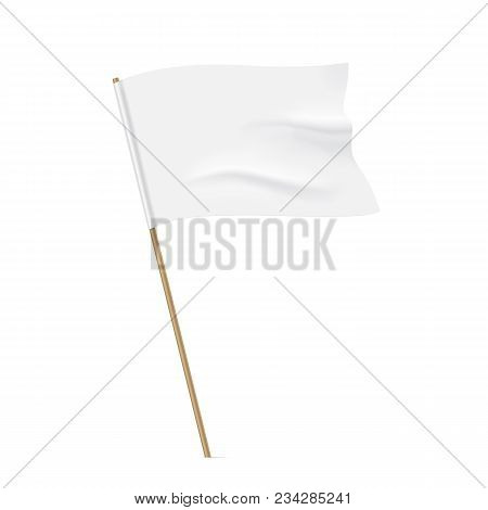 White Flag With A Wooden Stick. Clean Horizontal Waving Flag, Isolated On Background. Vector Flag Mo