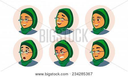 Muslim Business Woman Avatar Vector. Woman Face, Emotions Set. Hijab. Muslim Female Creative Placeho