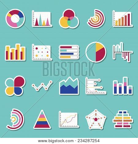 Business Data Graphs Stickers Icons. Financial And Marketing Charts Stickers. Market Elements Dot Ba