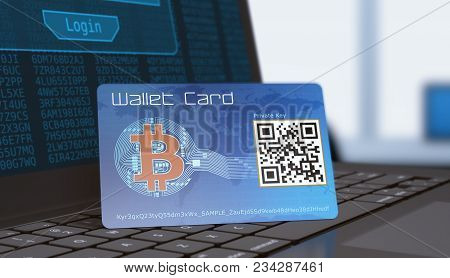 Bitcoin Wallet Card With A Laptop Computer, Concept Of Cryptocurrency (3d Render)