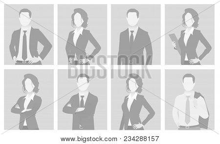 Default Placeholder Man And Woman Half-length Portrait Photo Avatar. Businessman And Businesswoman G