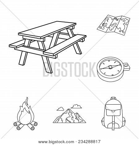 Rest In The Camping Outline Icons In Set Collection For Design. Camping And Equipment Vector Symbol