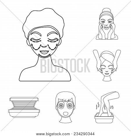 Skin Care Outline Icons In Set Collection For Design. Face And Body Vector Symbol Stock  Illustratio