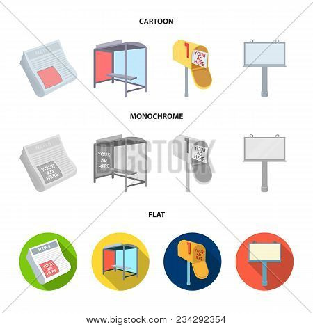 Newspapers, A Bus Stop, A Mail Box, A Billboard.advertising, Set Collection Icons In Cartoon, Flat,
