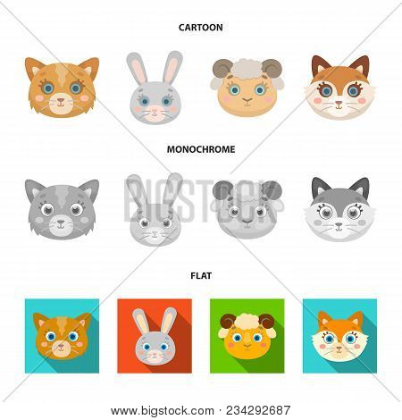 Cat, Rabbit, Fox, Sheep. Animal Muzzle Set Collection Icons In Cartoon, Flat, Monochrome Style Vecto