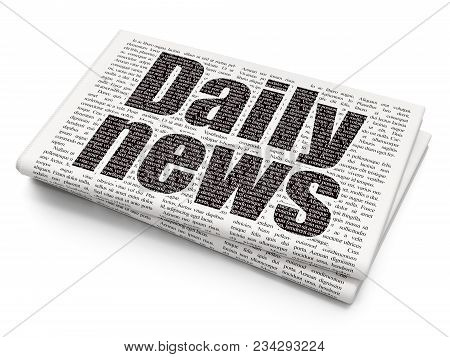 News Concept: Pixelated Black Text Daily News On Newspaper Background, 3d Rendering