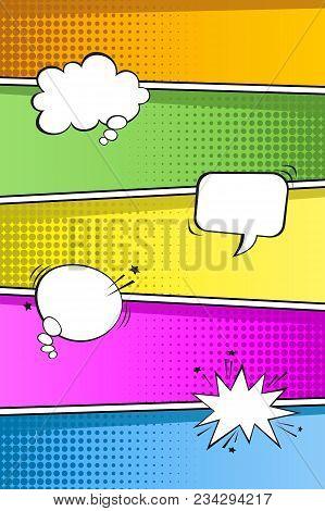 Colorful Pop Art Retro Background With Empty Bubble Speachs