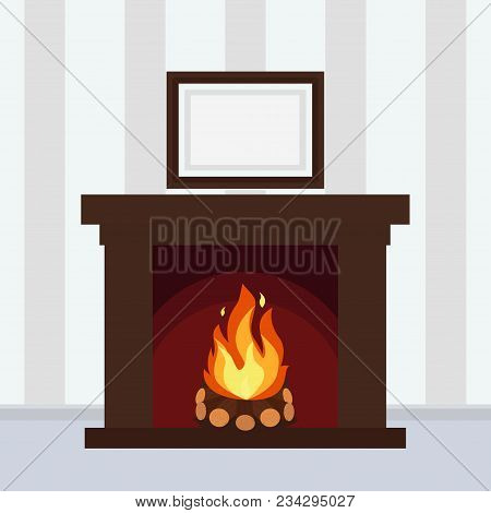 Fireplace On The Wall With The Picture Christmas Hearth Vector