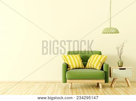 Interior Design Of Living Room With Wooden Side Table, Lamp And Green Velvet Armchair Over Yellow 3d