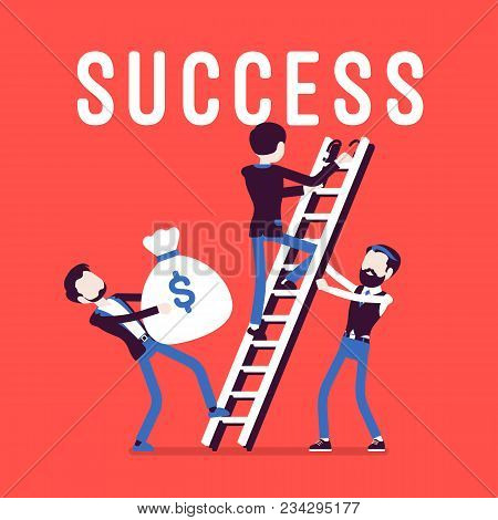 Ladder To Success. Team Of Businessmen Climbing Up To High Aim Or Purpose, Market Achievement, Finan