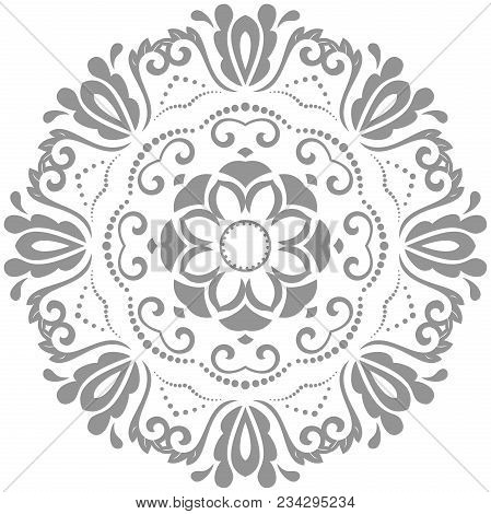 Oriental Vector Pattern With Arabesques And Floral Elements. Traditional Classic Silver Round Orname