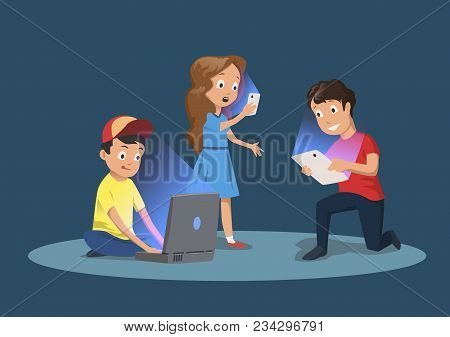 Children's Gadget Dependence. Kids With Electronic Devices. Cartoon Vector Illustration, Isolated On