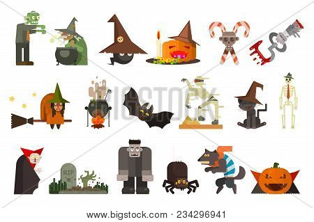 Set Of Scary Characters And Objects. Halloween Theme. Zombie, Witch, Black Cat, Frankenstein, Mummy,