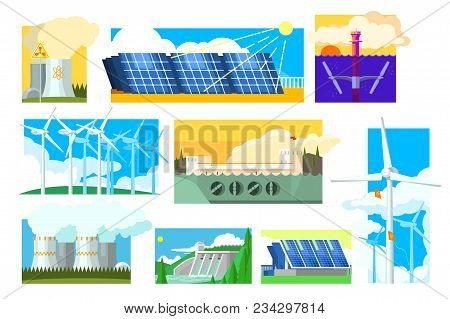 Set Of Alternative Energy Sources. Electricity Production Industry. Eco Friendly Low And Zero Emissi