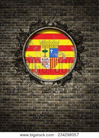 3d Rendering Of A Spanish Aragon Community Flag Over A Rusty Metallic Plate Embedded On An Old Brick
