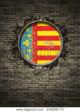 3d Rendering Of A Spanish Valencia Community Flag Over A Rusty Metallic Plate Embedded On An Old Bri