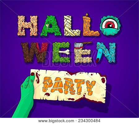 Happy Halloween Party Lettering. Vector Illustration. Eps10