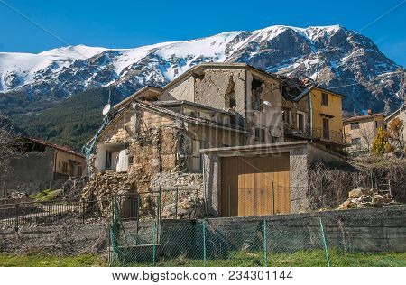Pretare: Destroyed Village At The Foot Of The Vettore Mountain
