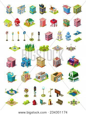 Isometric Icons Set For City Constructor. Houses, Cafe, Hospital, Shop, Hotel, Road Equipment, Park