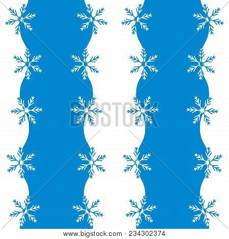 Beautiful Picture With Stylized Waves And Snowflakes. Winter Illustration On A White Background.