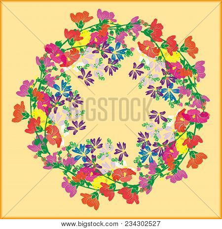 A Wreath Of Flowering Branches With Pink, Red And Yellow Buds Of Mallow And Blue Small Flowers On A