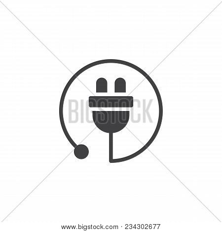 Electric Plug Vector Icon. Filled Flat Sign For Mobile Concept And Web Design. Power Cord Simple Sol