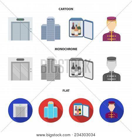 Elevator Car, Mini Bar, Staff, Building.hotel Set Collection Icons In Cartoon, Flat, Monochrome Styl