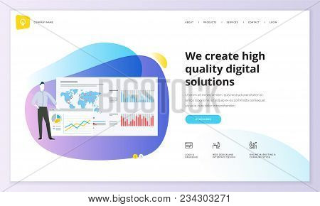 Website Template Design. Modern Vector Illustration Concept Of Web Page Design For Website And Mobil