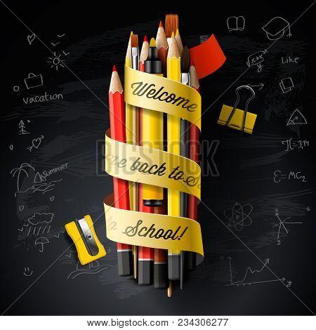 High Detailed Vector Design Template For Back To School. Black Chalkboard, School Supplies, Pencils,