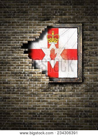 3d Rendering Of A Northern Ireland Flag Over A Rusty Metallic Plate Embedded On An Old Brick Wall