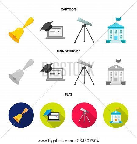 School Bell, Computer, Telescope And School Building. School Set Collection Icons In Cartoon, Flat,