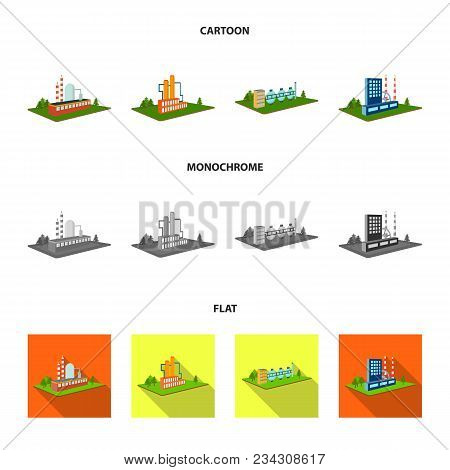 Processing Factory, Metallurgical Plant. Factory And Industry Set Collection Icons In Cartoon, Flat,